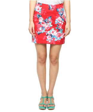 American Swan Red And Multi Mini Skirt