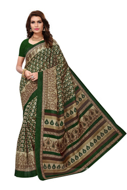 16TO60TRENDZ Green Color Printed Bhagalpuri Silk Saree $ SVT00465
