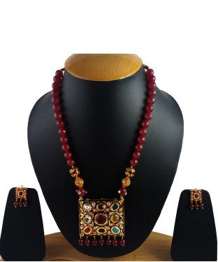 Aradhya Metal Jewel Set (Maroon)