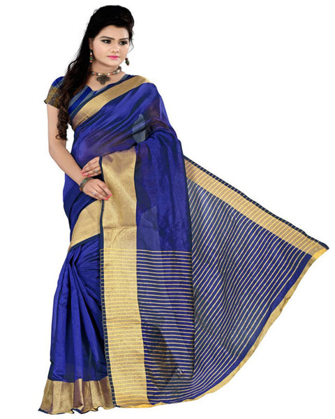 Muta Fashions Women's Unstitched Cotton Polyester Silk Blue Saree $ MUTA11