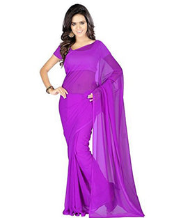 Muta Fashions Women's Unstitched Georgette purple Saree $ MUTA193