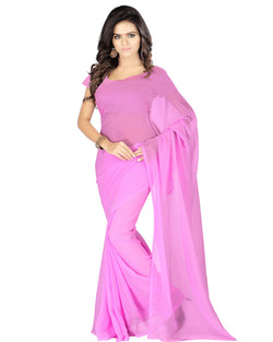 Muta Fashions Women's Unstitched Georgette Pink Saree $ MUTA194