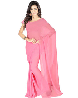 Muta Fashions Women's Unstitched Georgette Pink Saree $ MUTA196