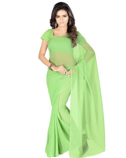 Muta Fashions Women's Unstitched Georgette Green Saree $ MUTA197