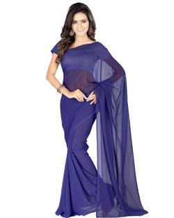 Muta Fashions Women's Unstitched Georgette Navy Blue Saree $ MUTA198
