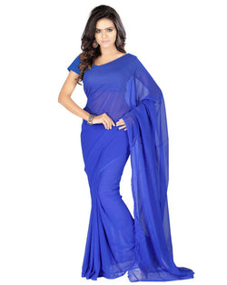Muta Fashions Women's Unstitched Georgette Blue Saree $ MUTA199