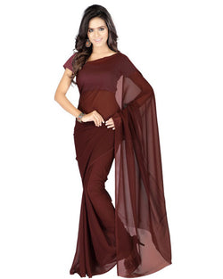 Muta Fashions Women's Unstitched Georgette Brown Saree $ MUTA200