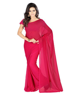 Muta Fashions Women's Unstitched Georgette Red Saree $ MUTA201