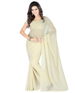 Muta Fashions Women's Unstitched Georgette Yellow Saree $ MUTA203