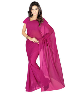 Muta Fashions Women's Unstitched Georgette Maroon Saree $ MUTA204