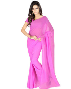 Muta Fashions Women's Unstitched Georgette Pink Saree $ MUTA206