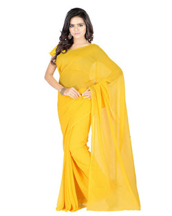 Muta Fashions Women's Unstitched Georgette Yellow Saree $ MUTA207