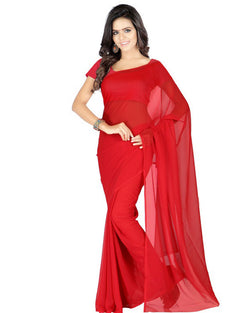 Muta Fashions Women's Unstitched Georgette Red Saree $ MUTA208