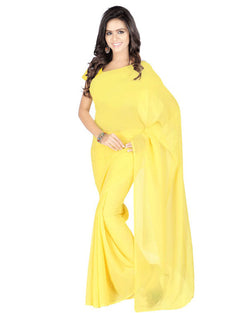 Muta Fashions Women's Unstitched Georgette Yellow Saree $ MUTA209
