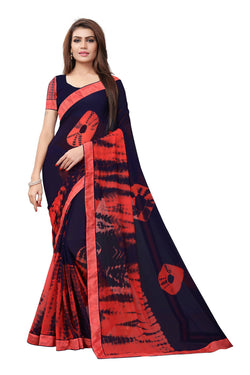 YOYO Fashion Printed Georgette Navy Blue Saree With Blouse $ YOYO-SARI2616