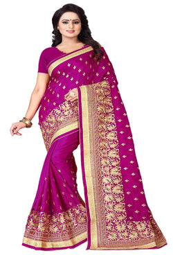 YOYO Fashion Silk Pink Embroidered Saree With Blouse $YOYO-S-SARI2595