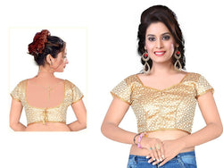 Manvi Fashion Lovely Designer blouse in Brocade fabric wedding blouse Silver color good Lace Readymade Blouse $ MF 1657