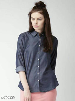 Gaurik Trendy Solid Denim Shirt $ Design No. 12