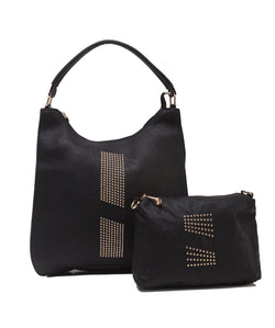 Fiona Trends Black PU Shoulder Bag,6003_BLACK