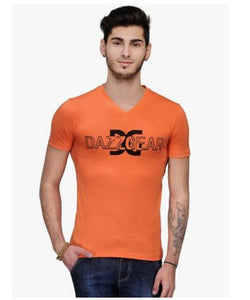 Dazzgear Men's Orange V Neck MTV-58 T-Shirt