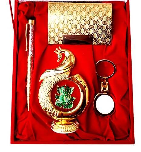 Gold Plated Ball Pen with Visiting Card Holder with Key Ring Ad Gold Plated  Ganesh God Idol Car Dashboard and Home Temple with Velvet Box $
