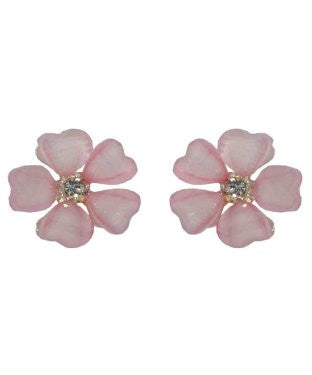 Golden Peacock Pink Floral Shaped Stud Earring