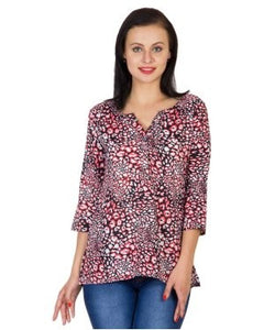 Vani Black, White And Coral 3/4 Slv Top