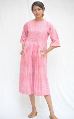 Handspun Khadi Cotton Pink Pleated Cactus Tunics $ IWK-000598
