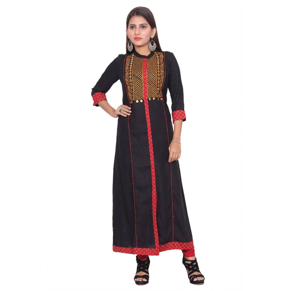 Chhapai 3/4 Sleeve Embroidered Black Frontslit Rayon Kurti $ CK-1011