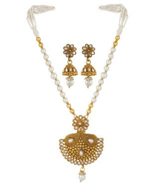 Aradhya Brass, Copper, Metal Jewel Set (Gold, White)