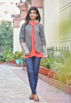Grey Khadi Summer Jacket $ IWK-GRE-JCT-1
