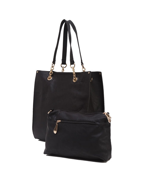 Fiona Trends Black PU Shoulder Bag,6001_BLACK
