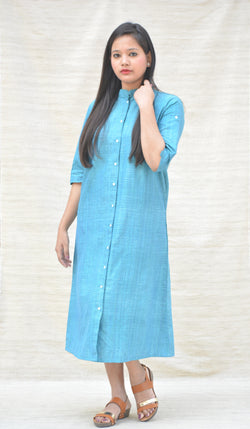 Turquoise Button Down Tunic in Khadi Cotton $ IWK-003667