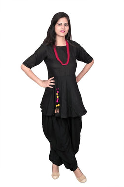 Libas Dhoti Kurti/salwar kurta/Dhoti Look .Rayon kurti and dhoti style salwar with pom pom attached $ Libas-066