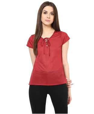 Miway Women Wine Solid Top