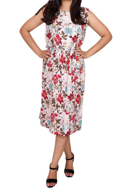 Libas Closet Women's One Piece Flower Print Cotton Long Dress -Designer Cotton Women's Maxi Long Dress $ Libas Closet-002