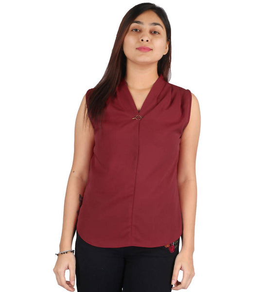 Fashion Tiara Women's Maroon Polyester Tops $ FTT155