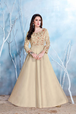 Manvi Fashion Women's Khakhi Color MODAL SATIN-(PURE FEB) Fabric Embroidery & Stone Work Gown $ MF 2147