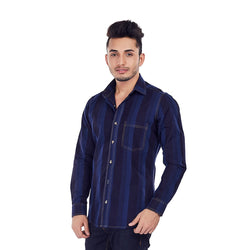 EVOQ Indigo Printed Shirt With Self Stripes, Styled With Smart Spread Collar, Horn Button-Indigo Stripes_Blue