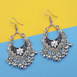 Black And White Silver Plated Meenakari Afghani Earrings