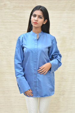 Blue Khadi Silk Mandarin Collar Shirt $ IWK-000461