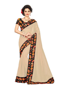 16to60trendz Beige Chanderi Lace Work Chanderi Saree $ SVT00081