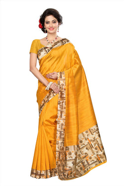 BL Enterprise Women's Bhagalpuri Cotton Silk Kalamkari Orange Color Saree With Blouse Piece $ BLLB-36