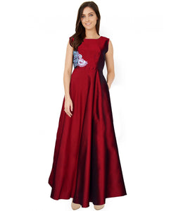 Fabricvilla New Marvelous Taffeta Maroon Long Anarkali style Gown