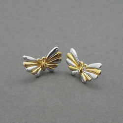 2 Tone Plated Stud Earrings