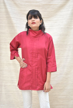 Khadi Silk Turtle Neck Maroon Top $ IWK-000358