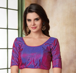 Manvi Fashion Purple Color Border Piping Work Two Ton Silk in Fabric Party Wear Readymade Blouse $ MF 3106