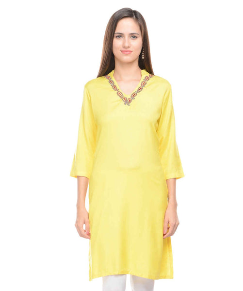 KAVYANI Yellow Rayon Kurti-WE680_YELLOW