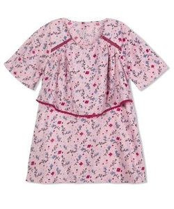 Budding Bees Girls Pink Floral Layered Dress
