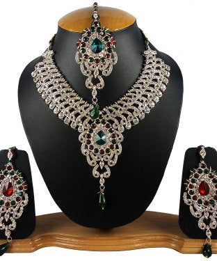 Aradhya Brass, Metal, Stone Jewel Set (Gold, White, Green, Red)